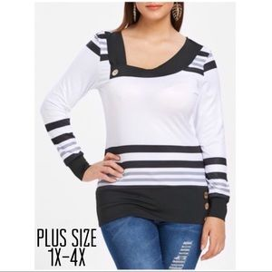 Tops - Plus Size Skew Neck Striped Tee